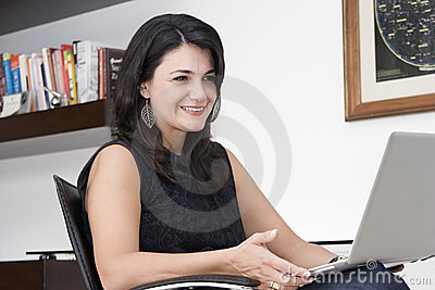 Attractive woman working with laptop