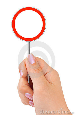 Circle traffic sign in hand