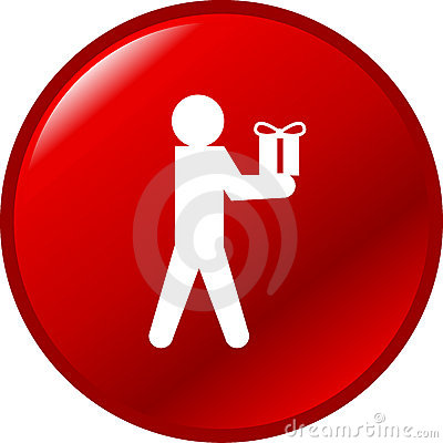 Person giving a gift or present vector red button