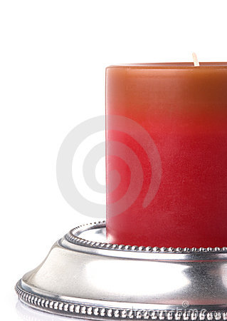 Red Candle On Beaded Pewter Holder
