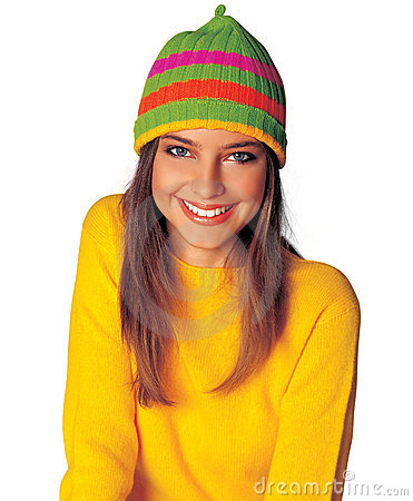 Teen girl in yellow winter clothes