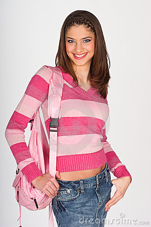 Teen girl with pink clothes