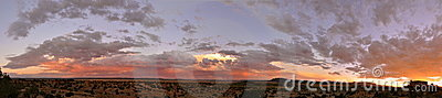 Panorama of Colourful Sunset Galisteo New Mexico