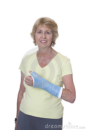 Senior woman with arm in blue cast