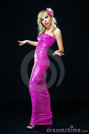 In pink evening dress