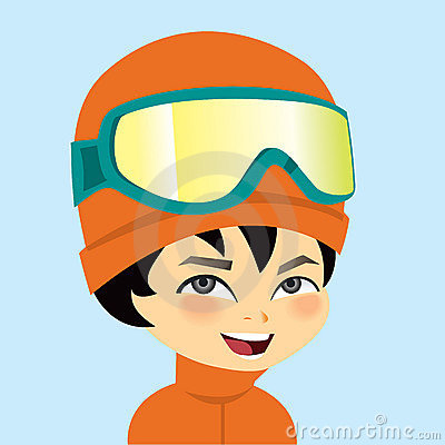 Young Boy Portrait Wearing Ski Gear Winter Outfit