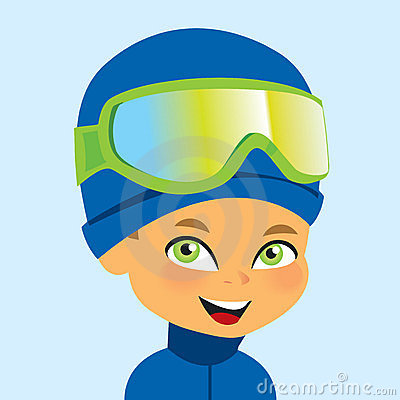Vector boy wearign ski gear
