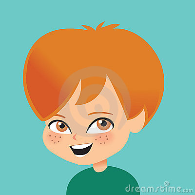 Young Boy Smiling Retro Cartoon Illustration