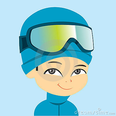 Cartoon Boy Wearing Ski Gear