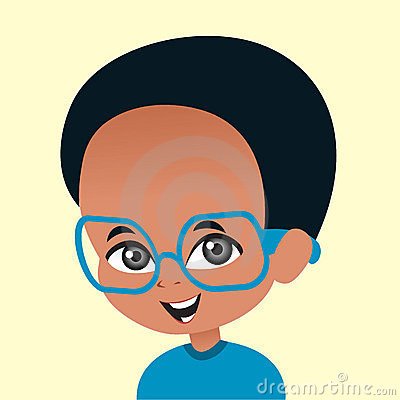 Cartoon African American boy wearing glasses