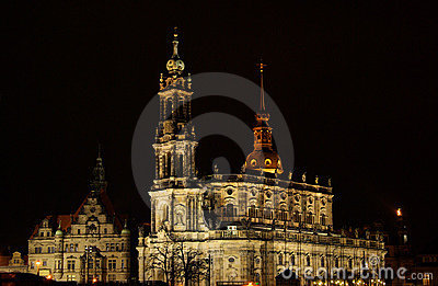 Dresden Catholic Court Church night