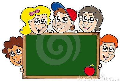 School blackboard with children