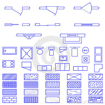 Blueprint symbols used by architects