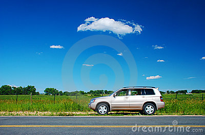Car Parked in the Rural Countryside