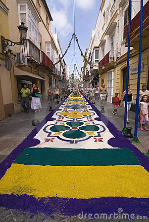 Salt carpet in El Puerto de Santa Maria, Spain