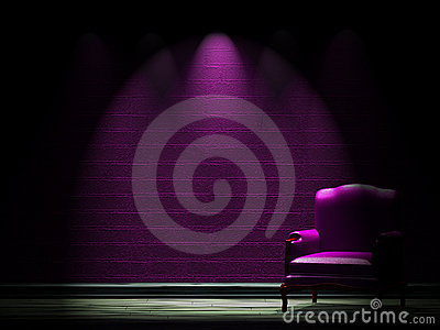 Alone chair in dark  interior