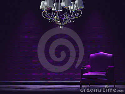 Alone chair with chandelier