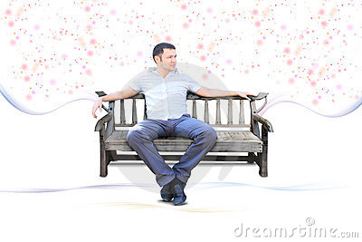 Guy sit on park bench isolated