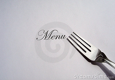 Menu written and a silver fork