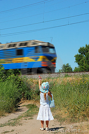 Girl and train