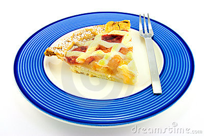 Slice of Apple and Strawberry Pie with a Fork