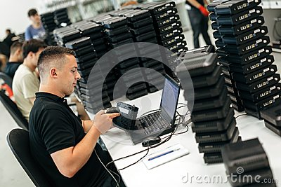 Worker using barcode reader