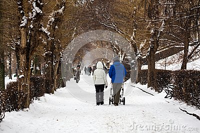 City Park in winter. A young family walks. Mom, dad and a stroller with a small child