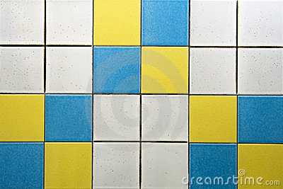 White, blue and yellow tiles