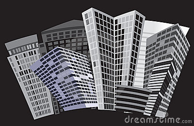 Black and white city. Vector art