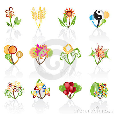 12 abstract flowers icons -vector icon set