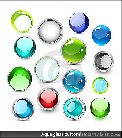 Collection of aqua glass icons