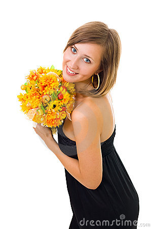 Woman and autumn flowers