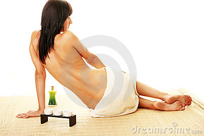 Portrait of Beautiful woman sitting on bamboo mat
