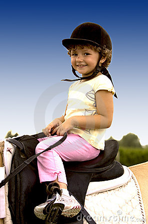Child with smile to riding