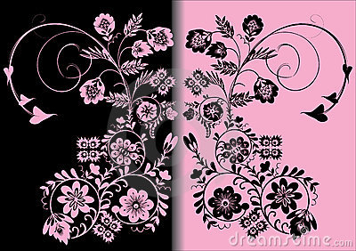 Symmetric pink and black color ornament