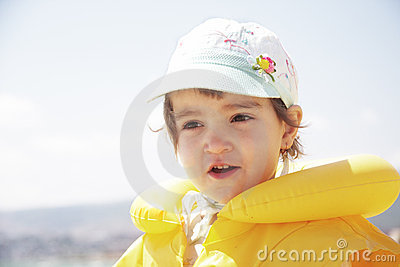 Girl in life jacket