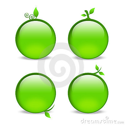 Blank green web icons with leaf embellishments