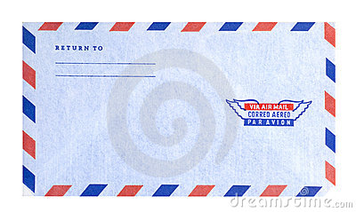 Air mail envelope, isolated