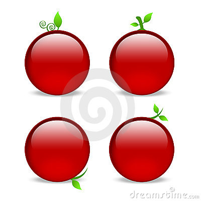 Blank red web icons with leaf embellishments