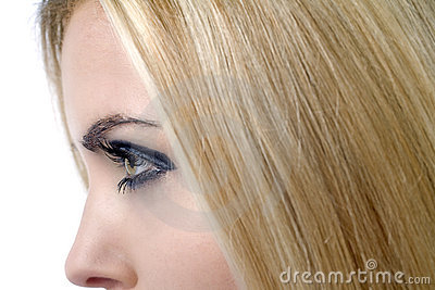 Profile of womans face and hair