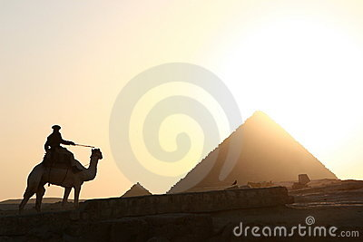 Pyramid and camel rider