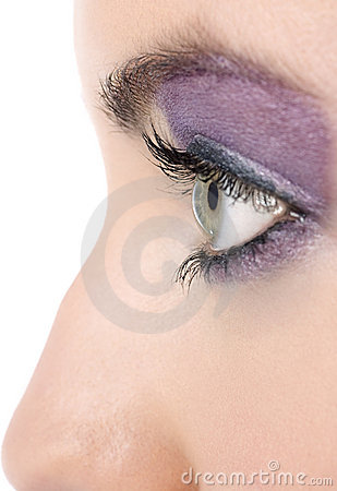 Closeup of womans eye with makeup