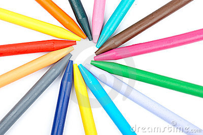 Colored wax crayons