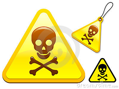 Caution sign with skull and bones