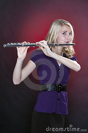 Teenage Flute Player Isolated