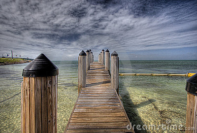 Wooden dock in Florida Keys