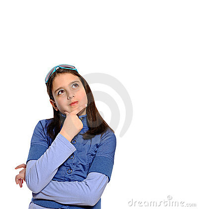 Cute girl in thinking pose