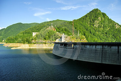 Vidraru water dam and lake in Romania