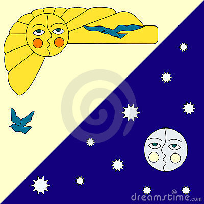 Illustration of sun and moon