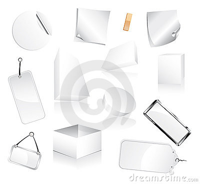 Set of White Boxes and Paper tags